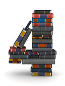 Number 4, stacked from books — Stock Photo