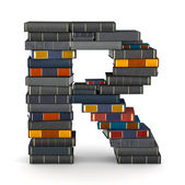 Letter R, stacked from books — Stock Photo