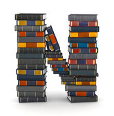 Letter N, stacked from books — Stock Photo