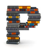 Letter P, stacked from books — Stock Photo