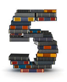 Number 5, stacked from books — Stock Photo
