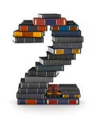 Number 2, stacked from books — Stock Photo
