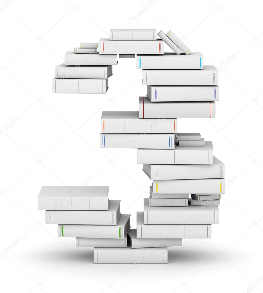 Number 3, stacked from many blank title books in column — Stock Photo #16176721
