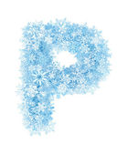 Letter P, frosty snowflakes — Stock Photo