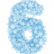 Number 6, frosty snowflakes — Stock Photo