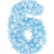 Number 6, frosty snowflakes — Stock Photo #16521485
