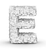 Letter E, page documents font — Stock Photo