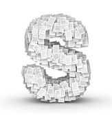 Letter S, page documents font — Stock Photo