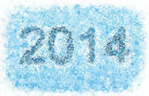 2014 year title, frosty snowflakes — Stock Photo