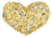 Heart from camomile flowers — Stockfoto