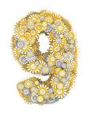 Número 9 de flores de manzanilla — Foto de Stock