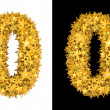 Gold shiny stars number 0 — Stock Photo