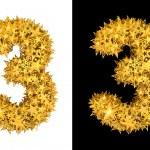 Gold shiny stars number 3 — Stock Photo #20946345