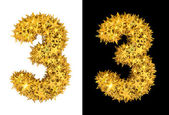 Gold shiny stars number 3 — Stock Photo