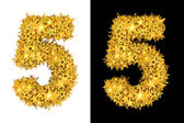 Gold shiny stars number 5 — Stock Photo