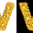 Stock Photo: Gold shiny stars letter V