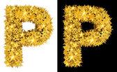 Gold shiny stars letter P — Stock Photo