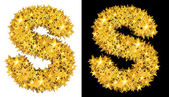 Gold shiny stars letter S — Stock Photo
