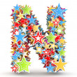 Letter N, from bright colored holiday stars staked — Stock Photo