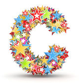 Letter C, from bright colored holiday stars staked — Stock Photo