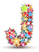 Letter J, from bright colored holiday stars staked — Stock Photo