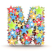 Letter M, from bright colored holiday stars staked — Stock Photo