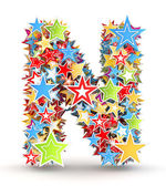 Alfabet n, van helder gekleurde vakantie sterren ingezet — Stockfoto