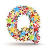 Alfabet q, van helder gekleurde vakantie sterren ingezet — Stockfoto