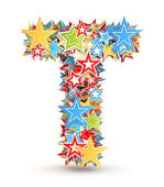 Letter T, from bright colored holiday stars staked — Stock Photo