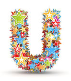 Letter U, from bright colored holiday stars staked — Stock Photo