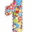 Royalty-Free Stock Photo: Number 1, from bright colored holiday stars staked
