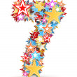 Number 7, from bright colored holiday stars staked — Stock Photo