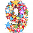Number 9, from bright colored holiday stars staked — Stock Photo