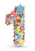 Número 1, de las estrellas brillantes colores vacaciones estacado — Foto de Stock