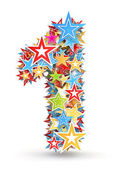 Number 1, from bright colored holiday stars staked — Stock Photo