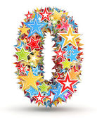 Number 0, from bright colored holiday stars staked — 图库照片