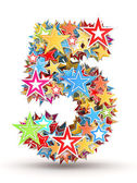 Number 5, from bright colored holiday stars staked — Stock Photo