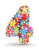 Number 4, from bright colored holiday stars staked — Stockfoto