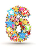 Number 6, from bright colored holiday stars staked — Stock Photo