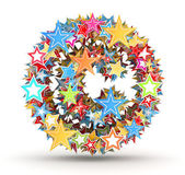 Copyright , from bright colored holiday stars staked — Stock Photo
