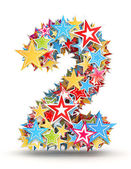 Number 2, from bright colored holiday stars staked — Stock Photo
