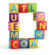Letter D maked from abc cubes — Stock Photo