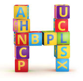 Letter H maked from abc cubes — Photo
