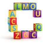 письмо c цветовым из abc кубов — Стоковое фото