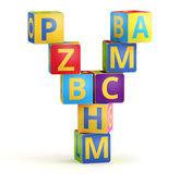 字母 y 怎么从 abc 多维数据集 — 图库照片