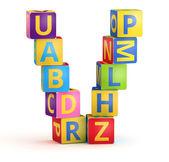 Alfabet v markeerde van abc kubussen — Stockfoto