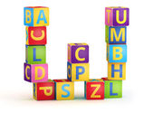 Letter W maked from abc cubes — Stock Photo