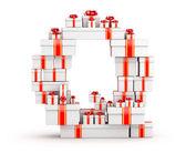 手紙 q プレゼントの箱から赤いリボンで飾られました。 — ストック写真