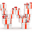 Letter W from boxes of gifts decorated with red ribbons — Stock Photo
