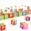 Alphabet spelled by abc cubes — Stok Fotoğraf #24909117